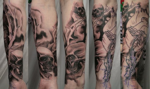 Crown Of Thorns And Skull Sleeve Tattoos