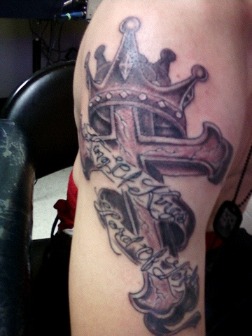 Crowned Stone Cross Muscles Tattoos