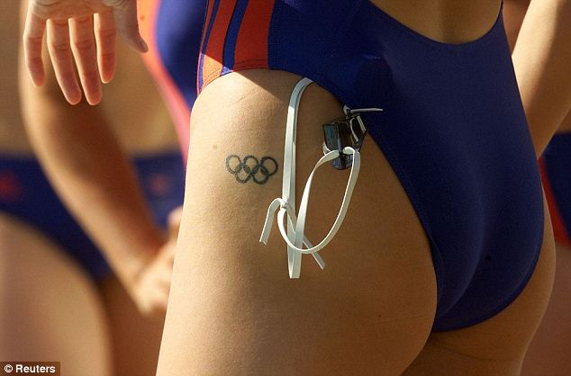 Cute Black Olympic Logo Tattoo On Hip