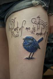 Cute Blue Bird Tattoo On Thigh