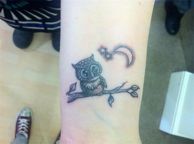 Cute Crescent Moon And Owl Tattoos On Wrist