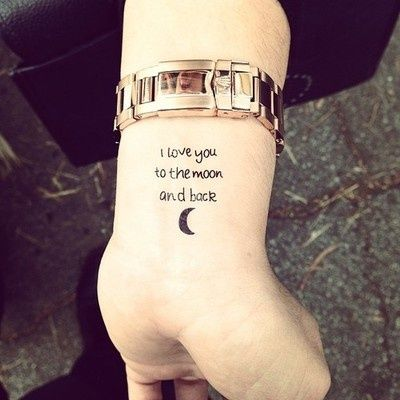 Cute Moon And Quote Tattoos On Wrist