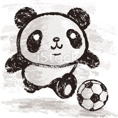 Cute Panda Playing Soccer Tattoo Design