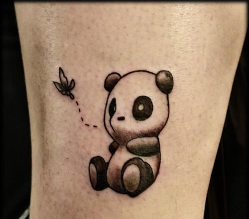 Cute Panda Watching Butterfly Tattoo