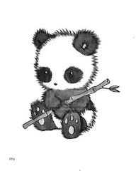 Cute Panda With A Bamboo Tree Tattoo Design
