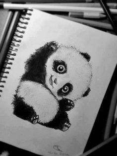 Cute Smile Panda Tattoo Sketch
