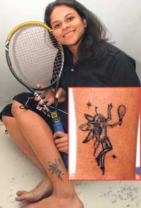 Cute Sports Tattoo On Leg For Teen Age Girls