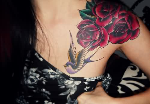 Cute Swallow And Rose Tattoos On Front Shoulder