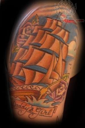 Daddy's Girl Roses And Ship Tattoo Image