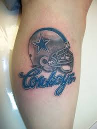 Dallas Cowboys Helmet Tattoo On Leg