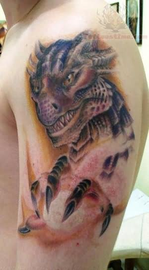 Dangerous Dragon Tattoo On Half Sleeve