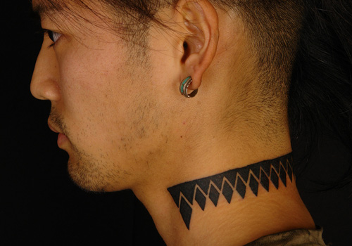 Dark Black Ink Neck Tattoos For Guys