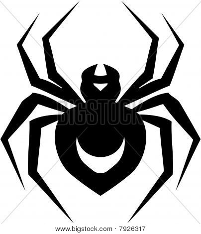 Dark Black Ink Spider Tattoo Stencil