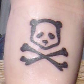 Dark Black Outline Danger Skull Panda Tattoo