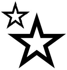Dark Black Outline Star Tattoo Designs