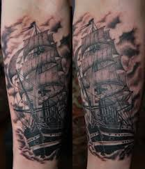 Dark Black Sea Ship Tattoos