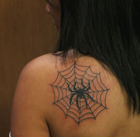 Dark Black Spider With Web Tattoos On Back Shoulder