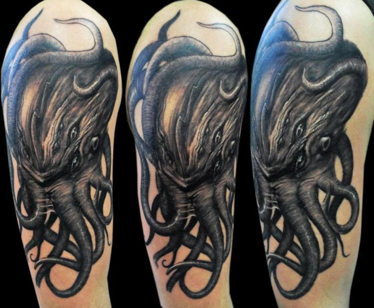 Dark Ink Octopus Half Sleeve Tattoos