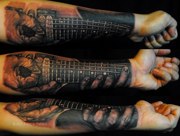 Dark Realistic Guitar Forearm Tattoos