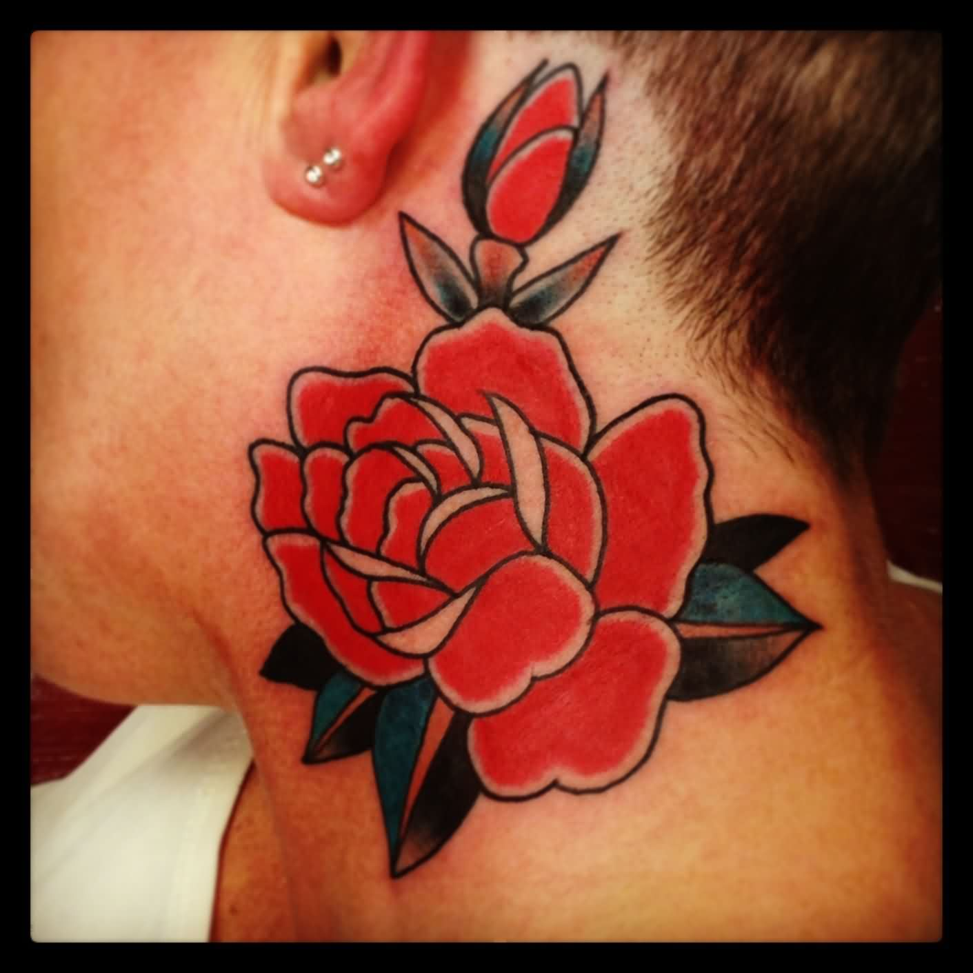 Dark Red Ink Rose Neck Tattoo