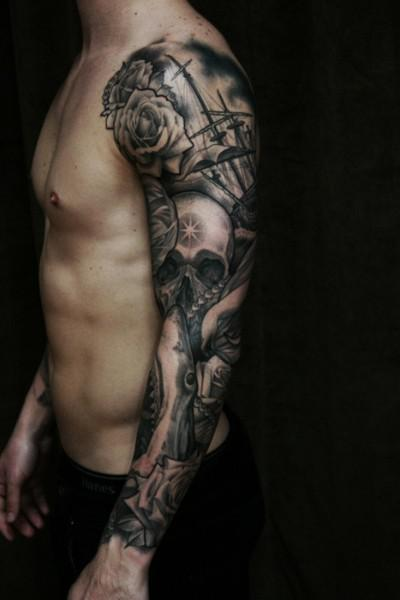 Dark Rose Ship And Skull Tattoos On Sleeve
