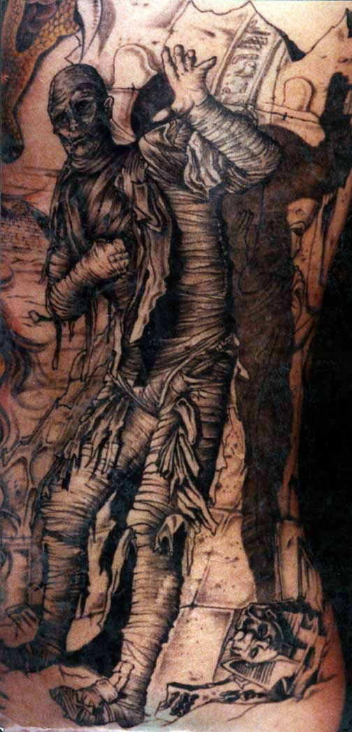 Dark Scared Mummy Tattoo