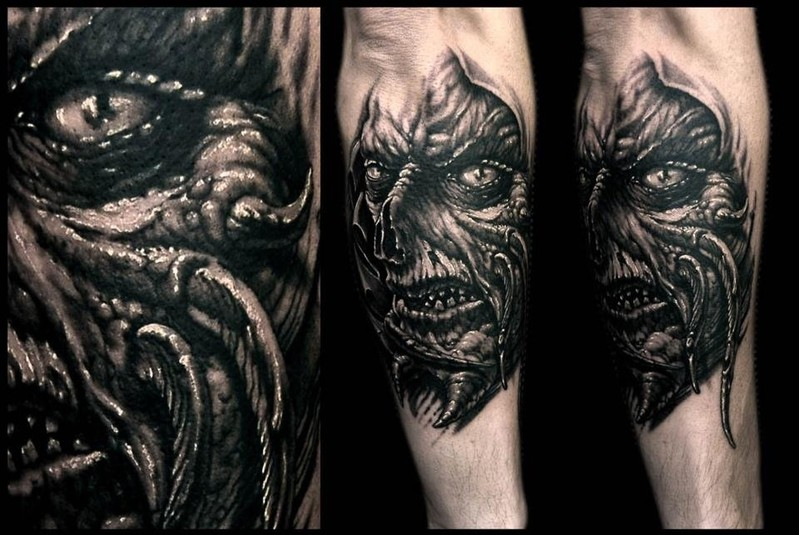 Dark Scary Monster Sleeve Tattoos