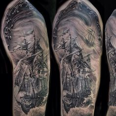Dark Ship In Storm Tattoo On Half Sleeve