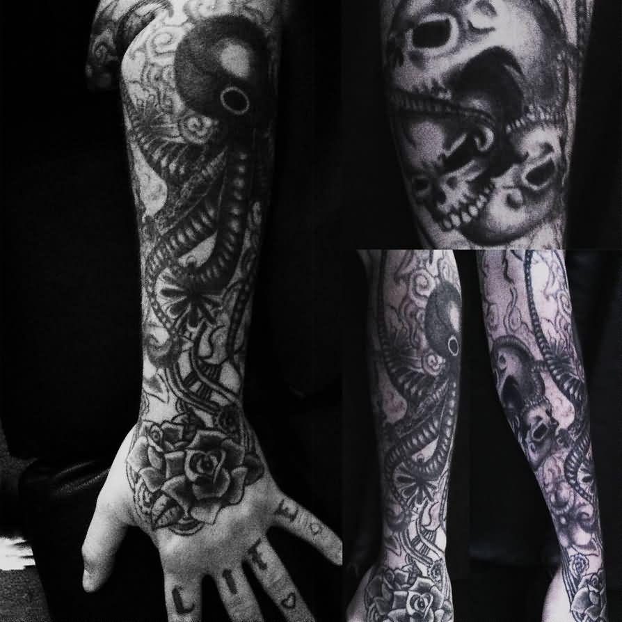 Dark Skull Octopus And Rose Tattoos