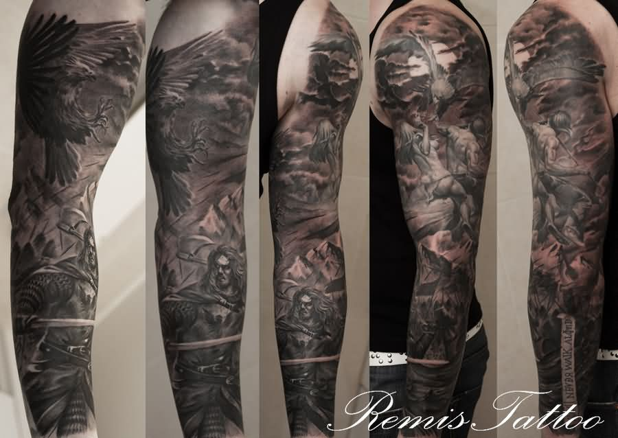 Dark Warrior Sleeve Tattoo
