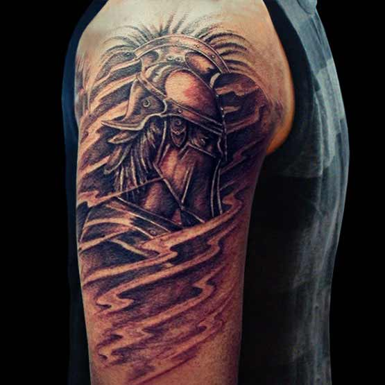 Dark Warrior Tattoo On Right Half Sleeve