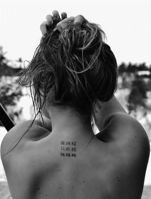 Date Tattoos On Back Neck