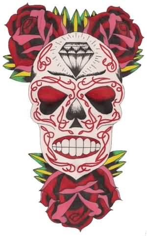 Day Of Dead Skull And Roses Tattoo Designs