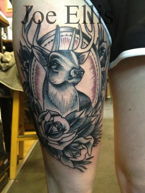 Deer And Roses Tattoos On Thigh