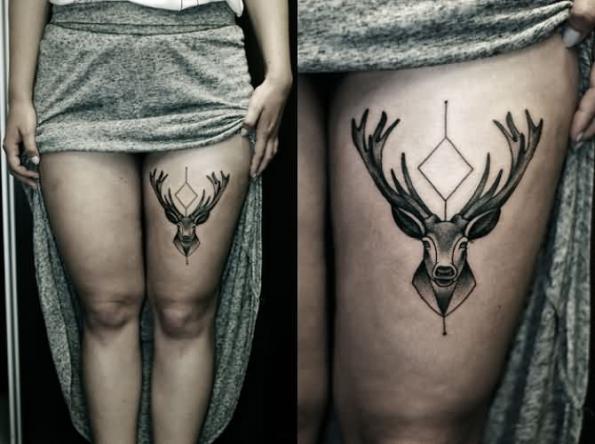 Deer Tattoos On Thigh For Girls