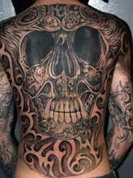 Designed Skull Tattoo On Entire Back