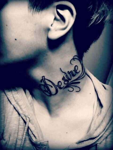 Desire Word Neck Tattoo For Guys