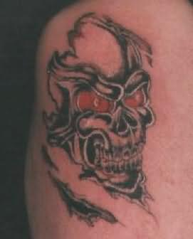Devil Skull With Red Eyes Tattoo