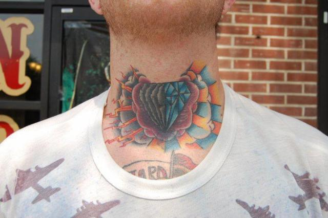 Diamond Rose Clouds Tattoos On Front Of Neck