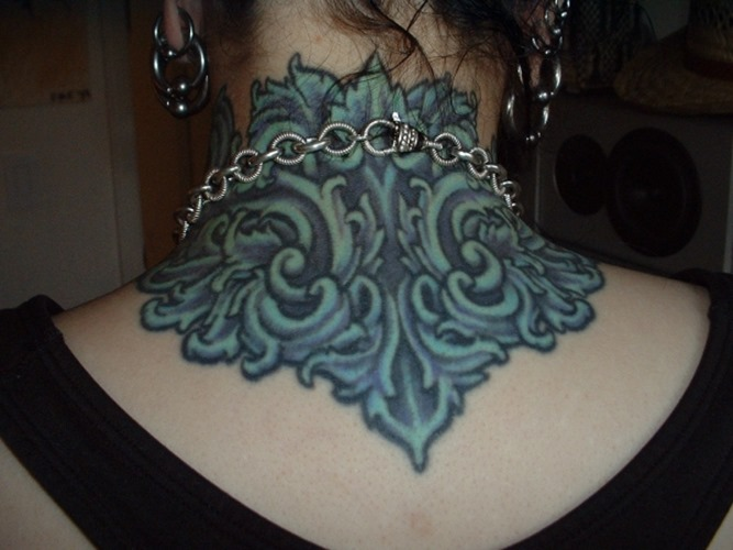 Different Blue Ink Neck Tattoo For Girls And Women