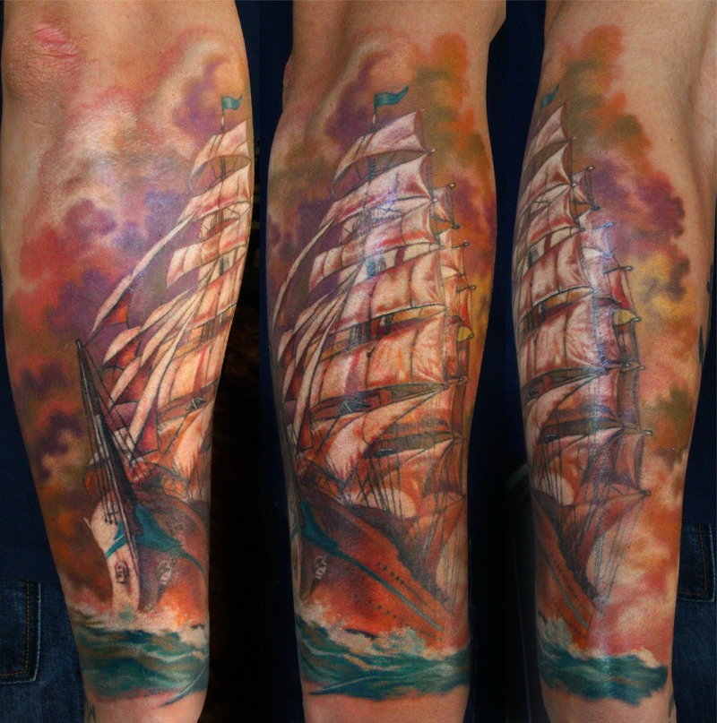 Different Colored Sailing Ship Tattoos