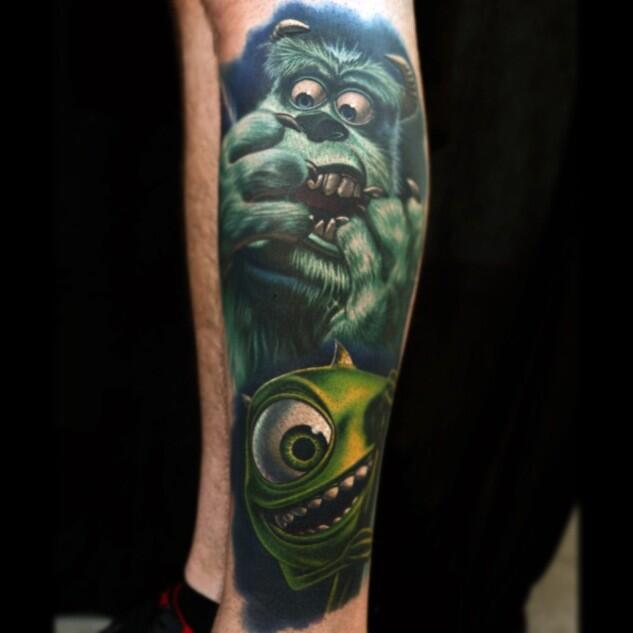 Disney Monster Tattoo On Leg
