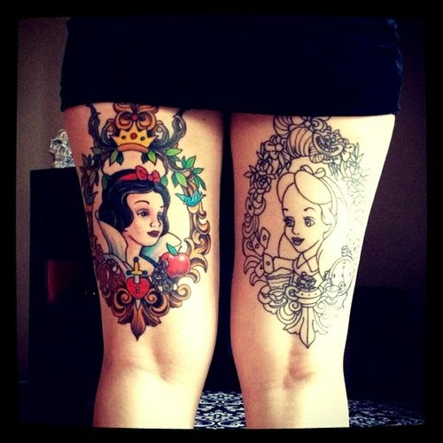 Disney Princess Thigh Tattoos For Girls