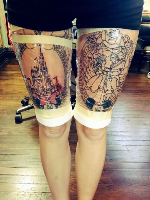 Disney Thigh Pieces Outline Tattoos