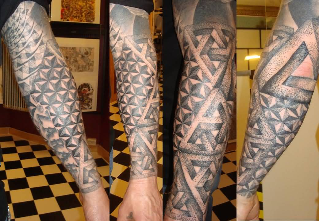 Dotwork Geometric Sleeve Tattoos