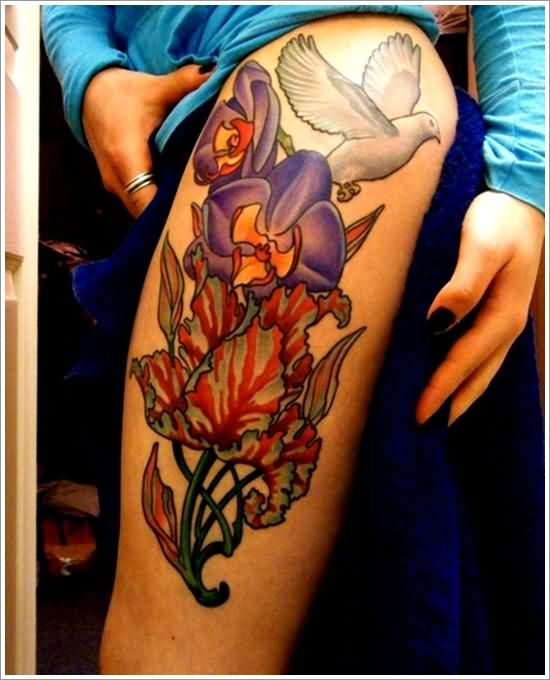 Dove And Colorful Orchid Tattoos On Thigh