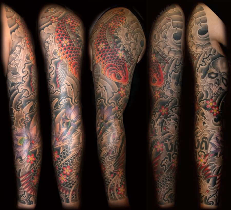 Dragon Koi Fish Sleeve Tattoos