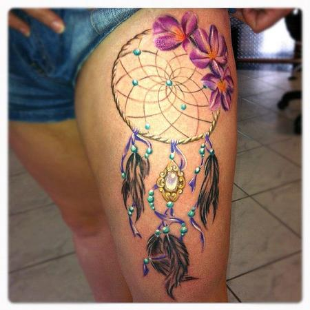 Dream Catcher Tattoo On Thigh For Women