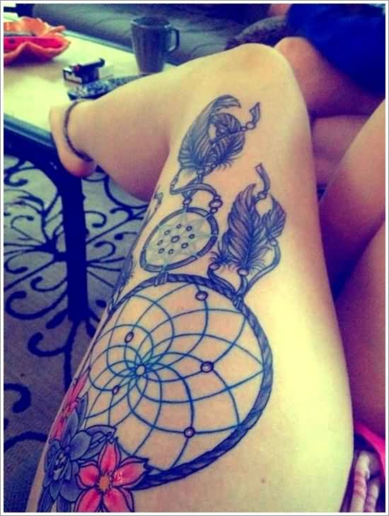 Dream Catcher Tattoo On Thigh Of Girl