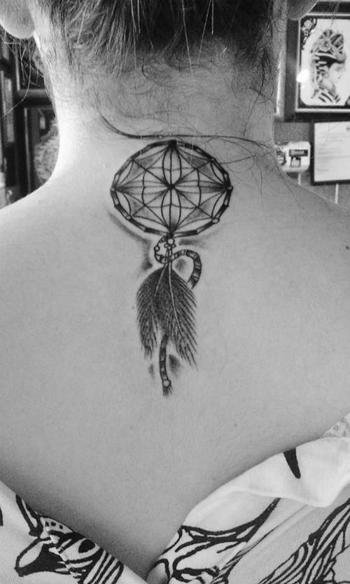 Dreamcatcher Back Of Neck Tattoo